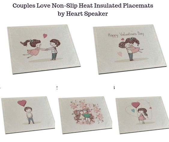 Couples Love Non-Slip Heat Insulated Placemats by Heart Speaker