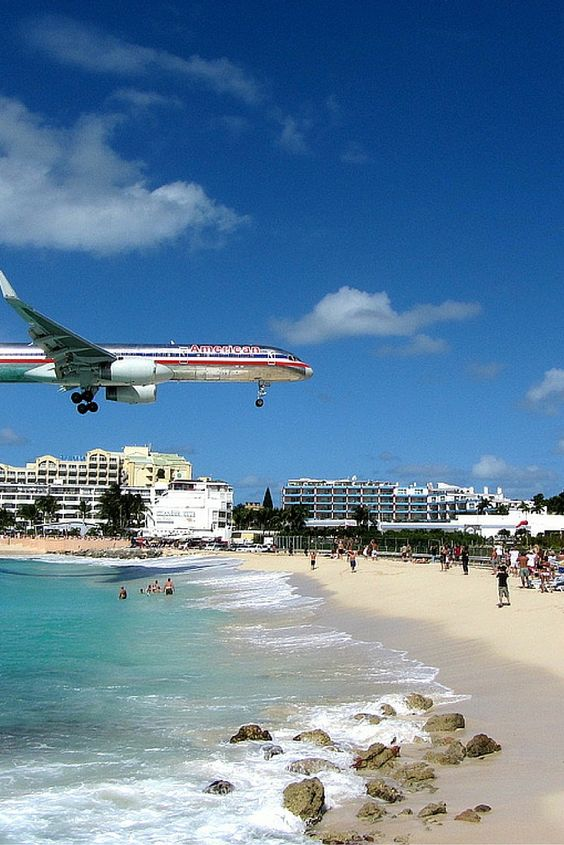 Maho Beach, or Airplane Beach, is on the Dutch side of the Caribbean island of Saint Martin.  Click through to see 15 more of the world's most unique & awesome beaches!