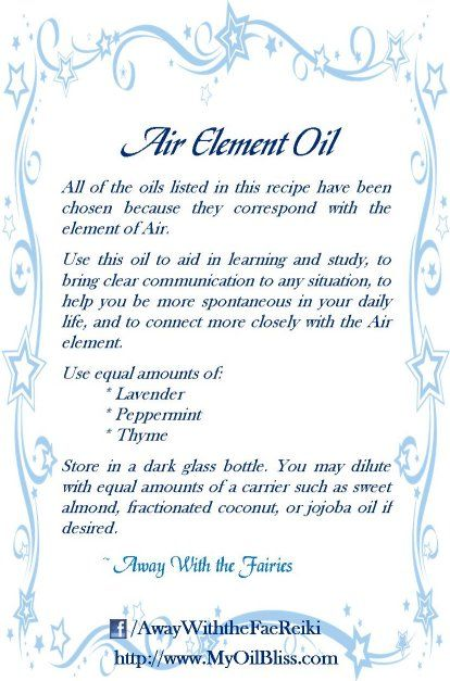 All of the oils listed in this recipe have been chosen because they correspond with the element of air. Use this oil to aid in learning and study, to bring clear communication to any situation, to help you be more spontaneous in your daily life, and to connect more closely with the Air element.