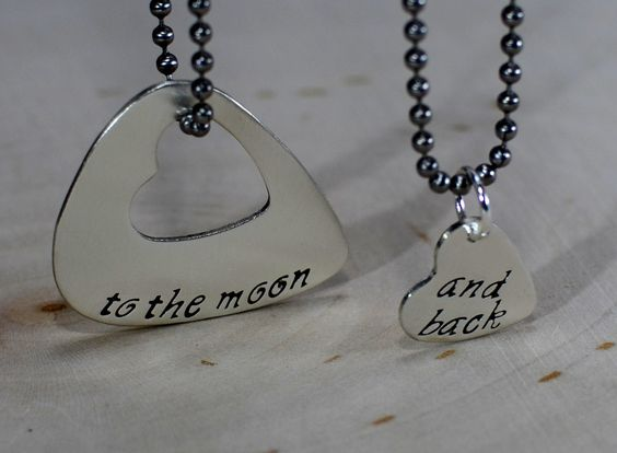 Couples sterling silver guitar pick necklace with heart for love to the moon and back: