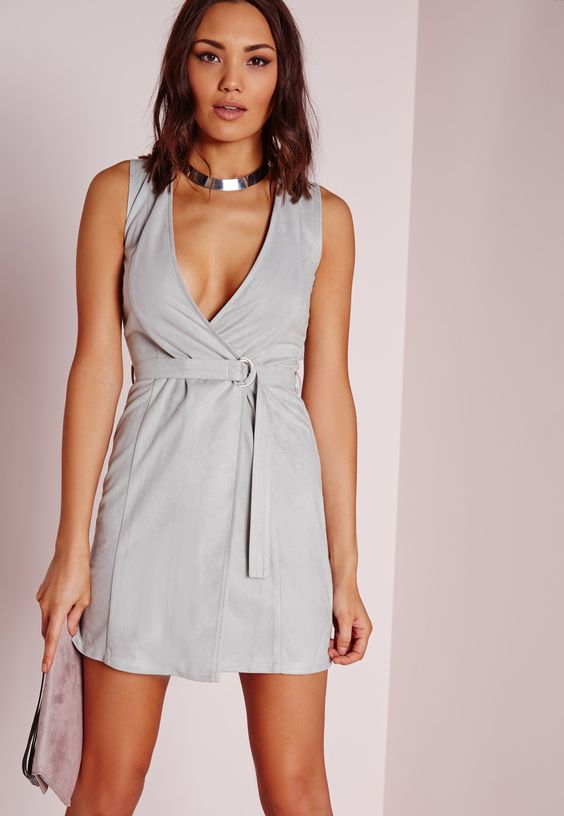 Missguided - Faux Suede Shift Dress Grey