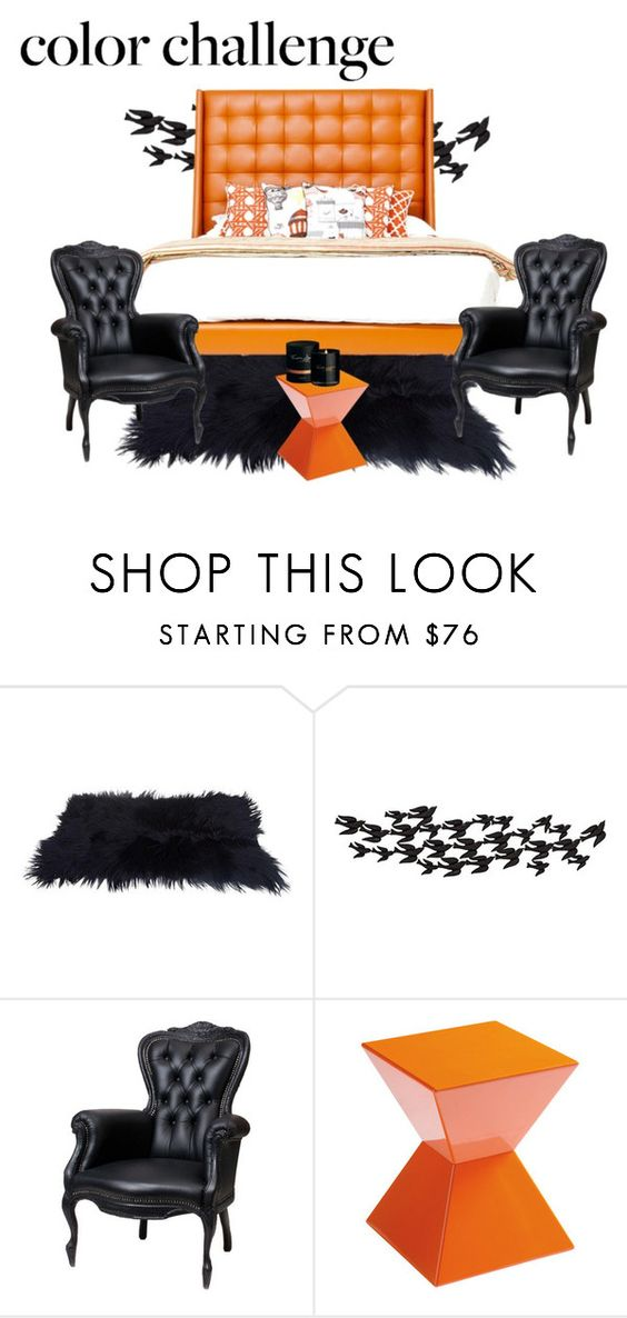 """""""Orange and Black"""" by jenn-308 ❤ liked on Polyvore featuring interior, interiors, interior design, home, home decor, interior decorating, Universal Lighting and Decor, Moooi, Sunpan and Timothy Dunn"""