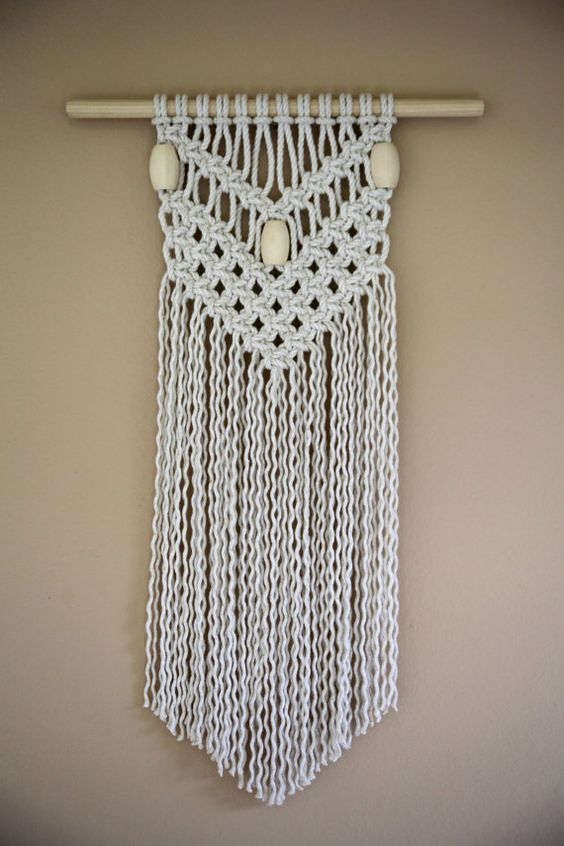Macrame Wall Hanging - Natural White Cotton Rope w/ Wooden Beads ...