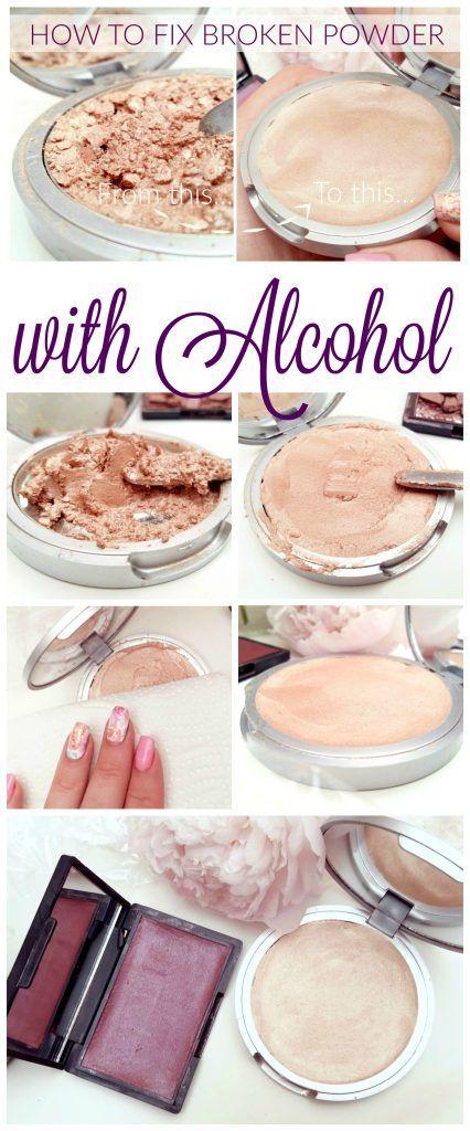 How to Fix broken Make-up! So kannst du ganz einfach kaputte und zerbröselte Lidschatten, Blushes, Highlighter und Kompakt Puder wieder reparieren. Alkohol ist die Lösung!