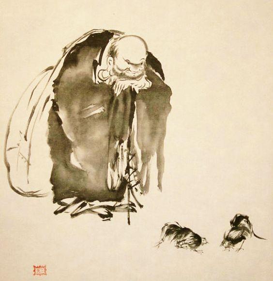 """Miyamoto Musashi- """"Hotei Watching a Cock Fight"""""""