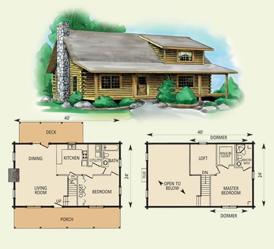 Log cabin floor plans cabin floor plans and log homes on for Log cabin floor plans with 2 bedrooms and loft