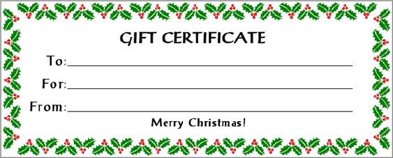 Free Gift Certificate Holiday With 30 KB Gif Free Printable - christmas gift vouchers templates