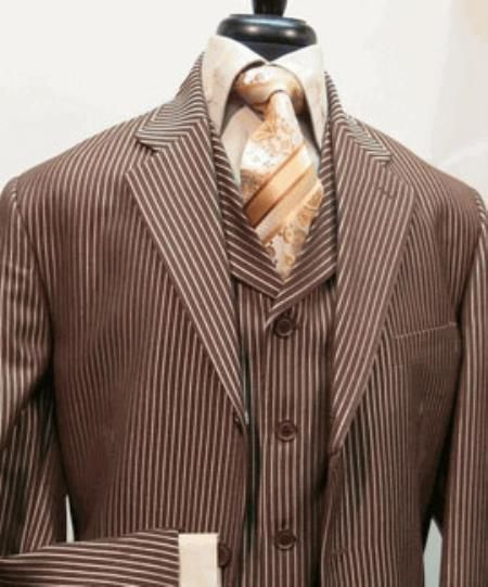 Mens Suit Three Button Single Breasted Suit jacket And Has Lined To The knee Pleated Pants Brown $199.00 AT vintagedancer.com