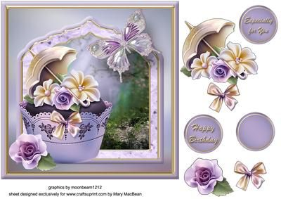 Cupcake Fancy Frame Card Front on Craftsuprint designed by Mary MacBean - Decoupage card front with a pretty framed scene with a cupcake and a butterfly. There are 3 sentiment tags including a blank one for your own message.  - Now available for download!