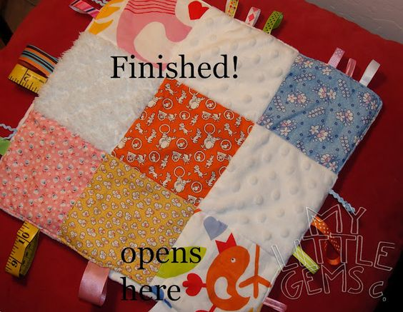 """Sensory Baby Tag Blanket {Tutorial} - includes how to make it """"crunchy"""" sounding too!"""