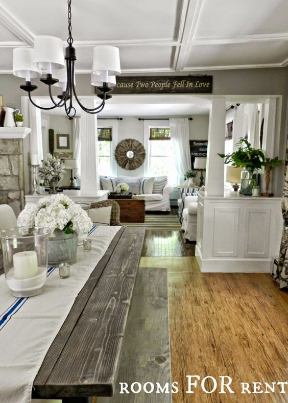 Rustic farmhouse or country style dining and living room. The best paint colours from Sherwin Williams: