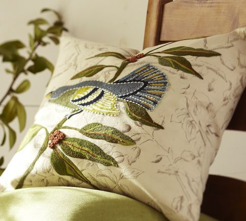 Bird Embroidered Pillow Covers