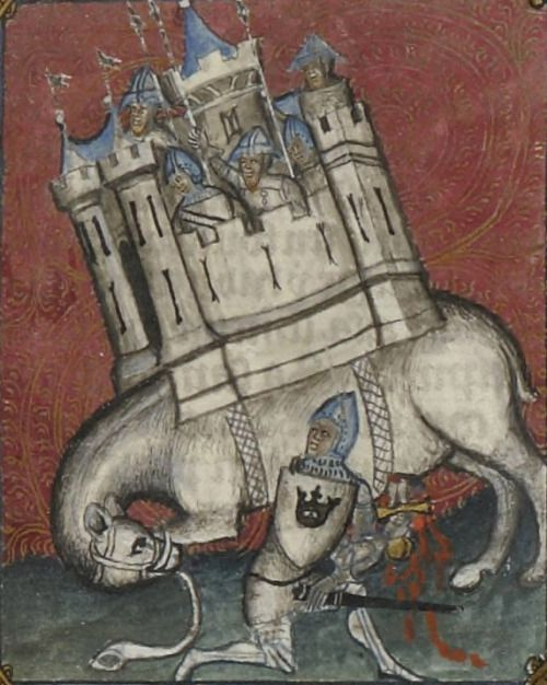 Bibliothèque nationale de France, Français 5707, f. 172r. Guiard des Moulins, Bible historiale. Paris, 1362-1363. Artist: Maître du livre du sacre. One of the more fanciful medieval elephants.: