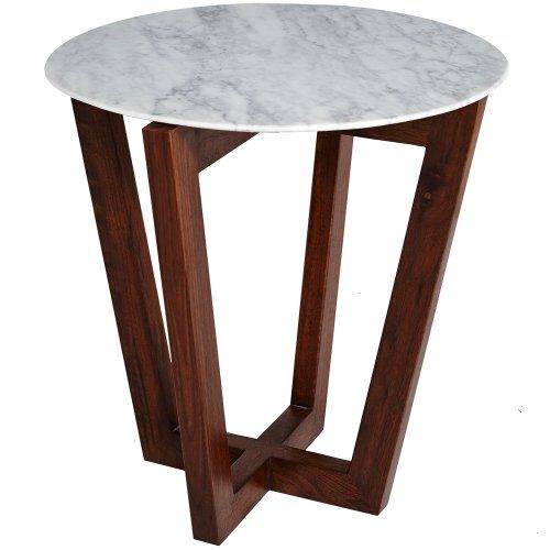 Modern Designer Round Italian Marble Side Table   Walnut Wooden Base |  Carrara Marble, Furniture Online And Carrara