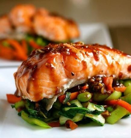 Asian Slow-Roasted Salmon Recipe (I added a little honey and orange juice to the glaze to sweeten it just a bit- and it worked great!)