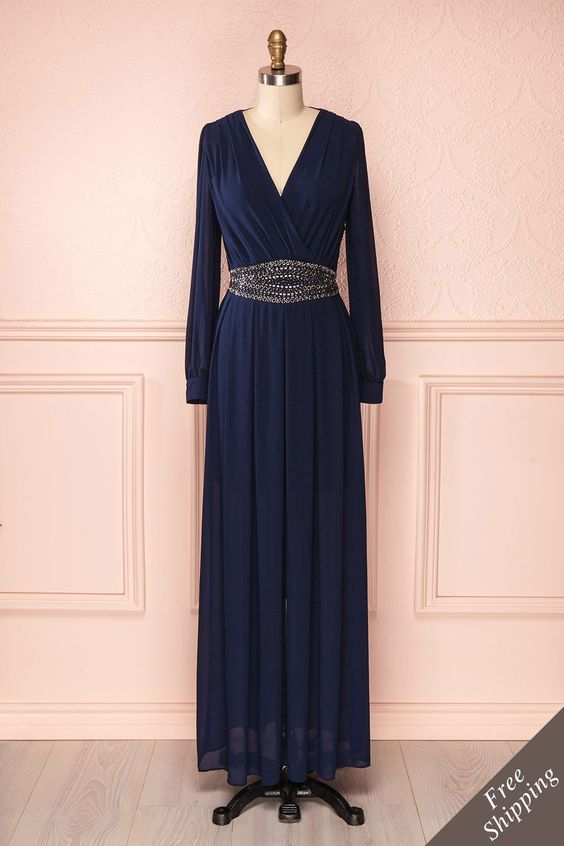 Angelina - Navy blue maxi dress with silver bead waistline belt
