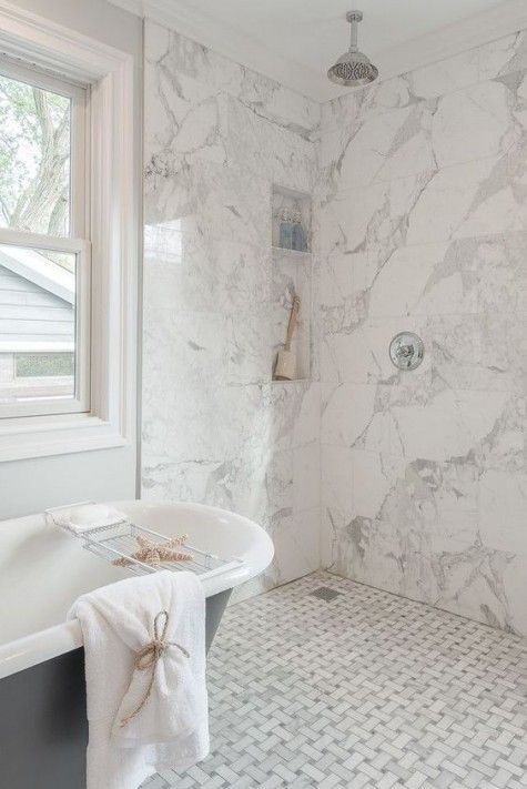20 Ideas To Mix And Match Tiles In Your Bathroom Comfydwelling Com Ideas Mix Match Tiles White Marble Bathrooms Marble Bathroom Bathroom Interior Design
