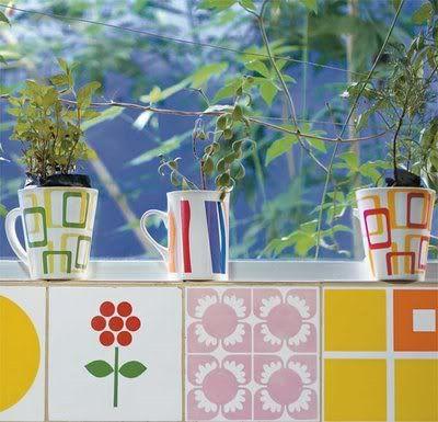 Blog de Decorar: Como decorar sua cozinha com mini-hortas com xícaras grandes