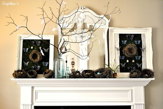 Gorgeous spring mantel. LOVE!