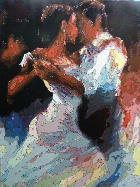 Tableau peinture danse tango flamenco valse peinture a l for Peindre un tableau