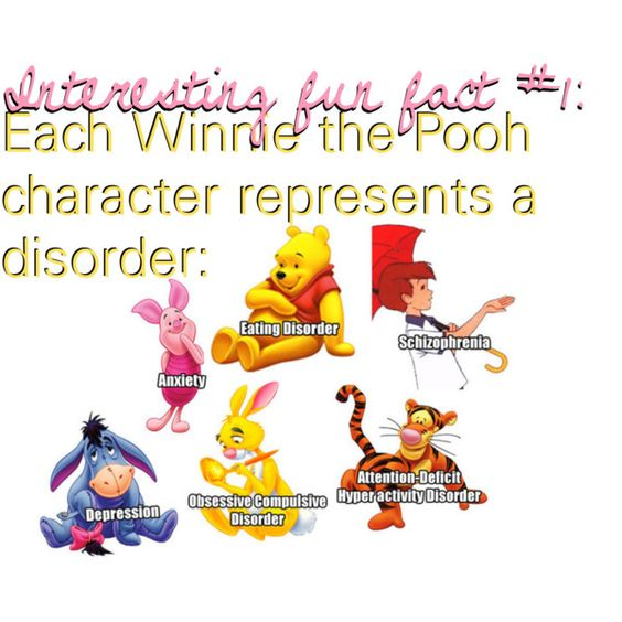 Fun fact 1 each winnie the pooh character represents a disorder by