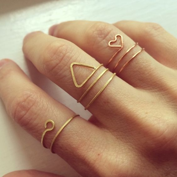 hand forged brass and copper rings