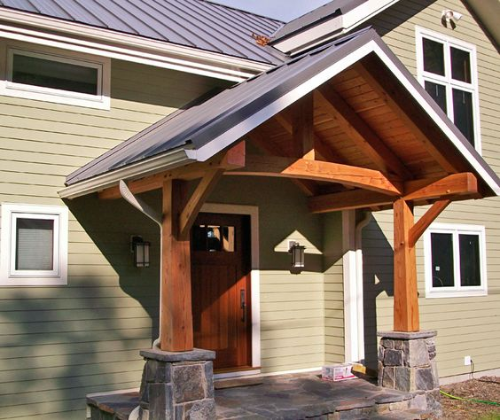 King post timber frame entry porch on a cayuga lake timber for Timber frame porches