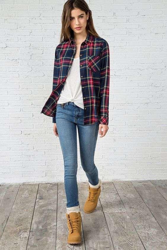 Camicia tartan e jeans con Timberland | Abbigliamento casual
