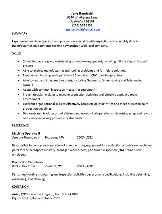 Resume  Engineering Resume Example Sample Engineering Resume - cnc operator resume