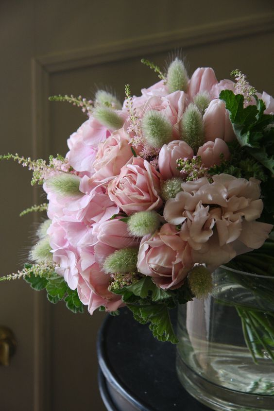 Victorian centerpiece with rose eustoma tulip and