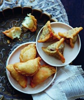 Sambousek~Arabic pastry dough filled with lamb or with cheese