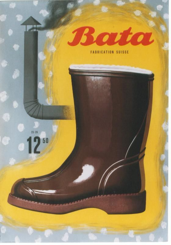 Bata Switzerland Ad Poster. (designer Peter Birkhäuser - c.1945) #batashoes #bata120years #advertising