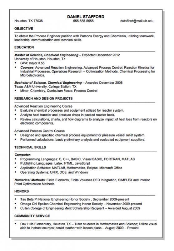 Chemical Engineer Resume Engineering Resume Resume Examples Good Resume Examples