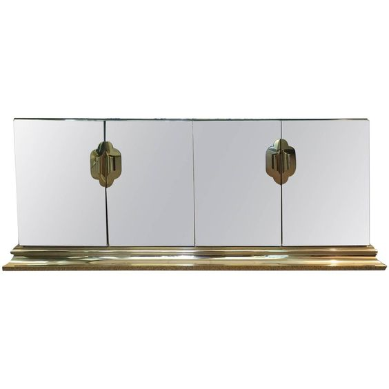 Brass and Mirror Four-Door Credenza by Ello C.  | From a unique collection of antique and modern credenzas at https://www.1stdibs.com/furniture/storage-case-pieces/credenzas/