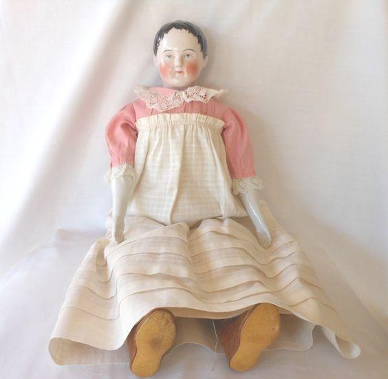 Kestner Glazed Porcelain China Head Kinderkopf (Child Head) Doll from joan-lynetteantiquedolls on Ruby Lane