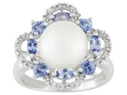 9.5-10mm White Cultured Fw Pearl With 1.01ctw Tanzanite & White Zircon Rhodium Plated Silver Ring