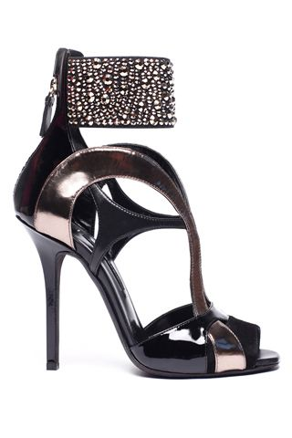 Black party heels with ankle strap