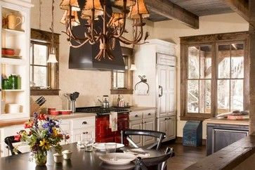 Nice window trim and ceiling beams. Fishing Ranch - rustic - Kitchen - Denver - Coburn Development