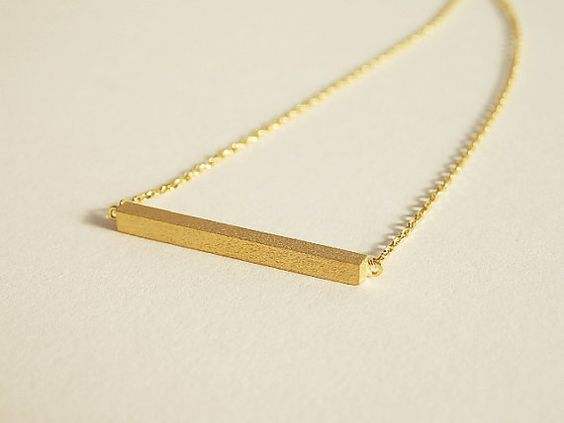 Pretty gold plated square bar pendant necklace, everyday jewelry, cute necklace simple jewelry, christmas jewelry on Etsy, $13.50