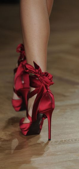 Lace up red satin ribbon high heels. Very ballerina inspired ...