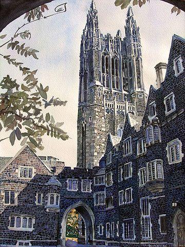 고딕 양식으로 지어진 대학원생 기숙사의 탑을 그린 유화. 이승만 전 대통령도 이 기숙사에서 묵었다고 전해진다. - 이승만