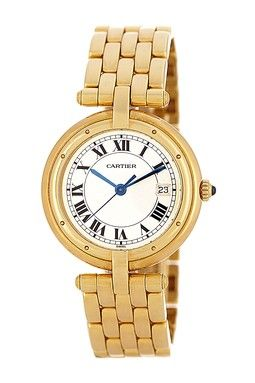 Vintage Cartier Men's/Unisex Panthere Round 18K Yellow Gold Watch