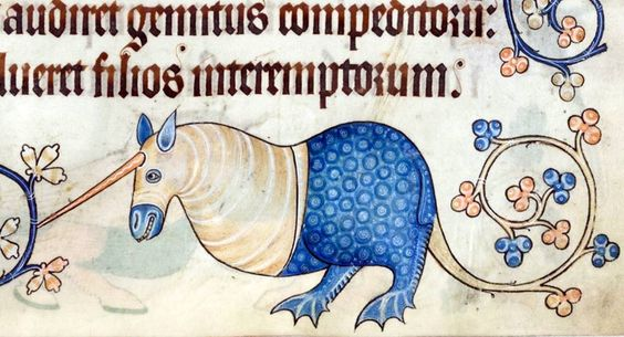 Flower-tailed bipedal unicorn. Luttrell Psalter, England ca. 1325-1340 (British Library, Add 42130, fol. 179r):