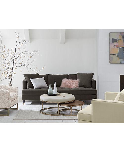 Furniture Jennova Upholstered Round Nesting Coffee Table Created