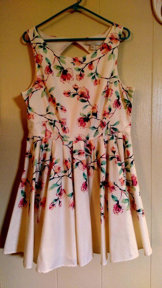 LAUREN CONRAD Womans Dress Size 16 FLORAL Cotton A-Line Sundress #LaurenConrad #AsymmetricalHem