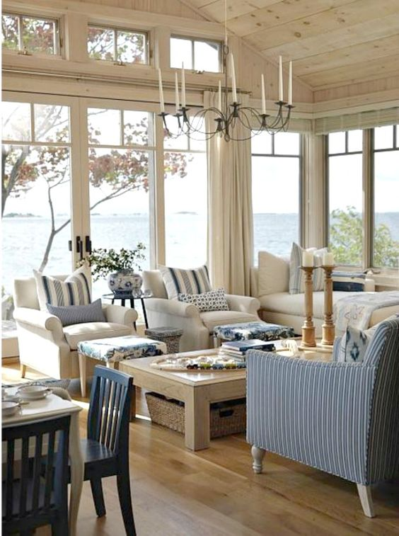 Blue and white cottage style living room with coastal classic decor by #SarahRichardson