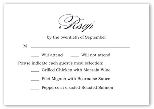 Poised Promise Wedding Response Card, Square Corners, White