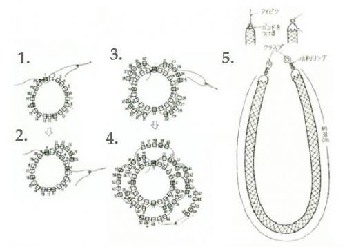 схема плетения жгута и серег