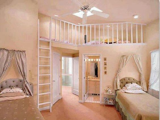 My Dream Room when I am older!! I love it!!! The room would hold 6 or 7 girls amazing so pretty you would have to live in a 6,000,000 dollar house to have you own bathroom and 2 beds and have a bunk bed that can hold 6 people at the top!!