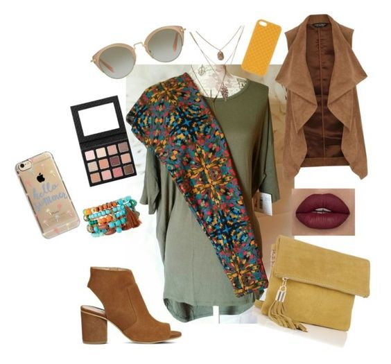 """Lularoe amy Gardner- outfit irma and leggings $60"" by amymgardner on Polyvore featuring Dorothy Perkins, Office, Miu Miu, NAKAMOL, Agent 18 and Gucci"